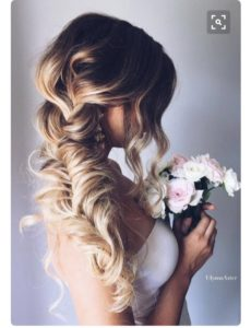 fishtail big hair wedding style